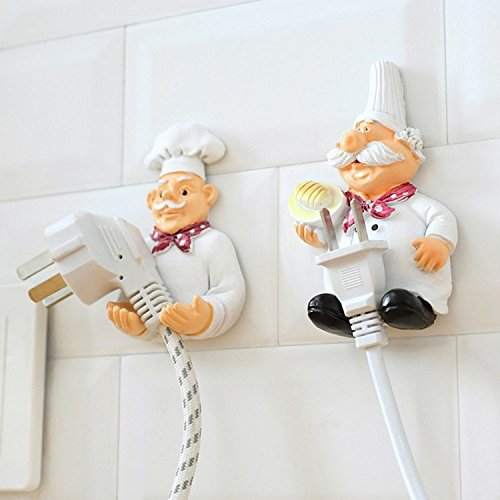 - Pack of 2 Cute Power Plug Hook Hold Cook Fat Chef Wall Decor Organiser for Home, Kitchen, Garden, Garage Organizing