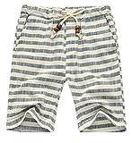 Cromoncent Mens Drawstring Casual Striped Summer Beach Straight Leg Pajama Shorts Gray XL