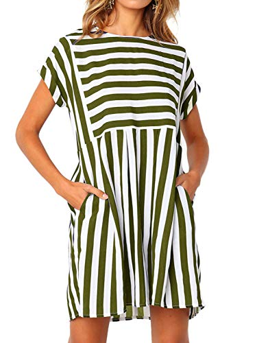 Green Striped Aline Dresses with Pocket,Summer Short Sleeve Mini Above Knee Length Fit and Flare T-Shirt Dresses,Army Green,XL