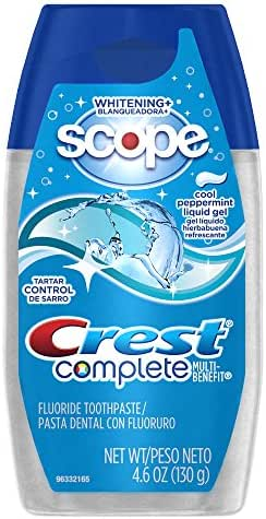 Crest Complete Tartar Control Whitening Plus Scope Liquid Gel - Cool Peppermint 4.6 Oz (Pack of 6)