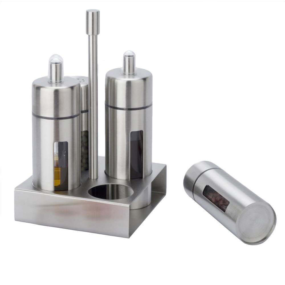 Oil and Vinegar Bottle Cruet Set -4PCS Stainless Steel Bottle With Acrylic for Kitchen with Stainless Steel Rack (Cruet Sets, Stainless Steel)