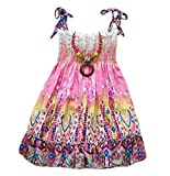 Kids Girls Summer Bohemia Boho Dress Floral Sleeveless Pleated Mini Dress with Necklace  (4T, C)