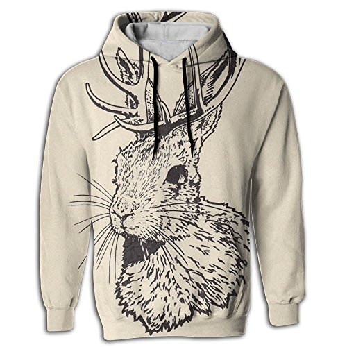Jackalope Rabbit MEN'S Polyester Printed Designs Hoodie Sweat Shirt Tops Shirt Coat For Gymnast Jogger Pullover Hoodie Pocket In Front With (Blackwork Shirt)