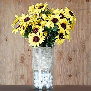 BalsaCircle 70 Yellow Silk Sunflowers - 5 Bushes - Artificial Flowers Wedding Party Centerpieces Arrangements Bouquets Supplies 15