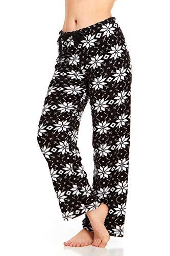 Women's Super-Soft Plush Fleece Pajama Bottoms/Lounge Pants, Black White Stars - Medium