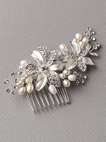 Side Bridal Comb, Wedding Hairpiece with Flowers, Fresh Water Pearls, & Rhinestones 2050