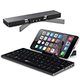 Portable Folding Bluetooth Keyboard EC Technolgy Foldable Wireless Mini Keyboard with Stand Ultra Slim Rechargeable for IOS Android Windows, Aluminum Alloy Black