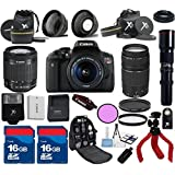 Canon T6i Camera Body with 18-55mm IS STM + 75-300mm III Zoom + 500mm Preset Lens + 3pc Filter Kit + Wide Angle + Spider Tripod + 2pcs 16GB Memory Cards + 22pc Kit - International Version