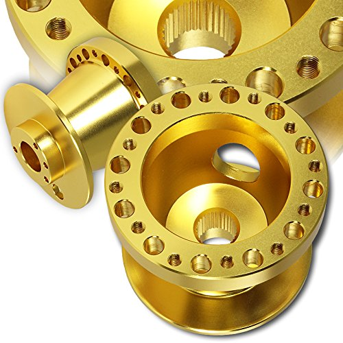 T6061 Gold Aluminum Steering Wheel 6-Hole HUB Adapter For Honda Accord Civic S2000 Prelude Acura TL RSX (Gold Hub)