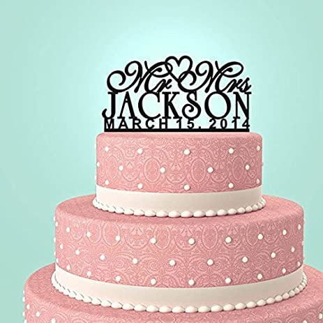 Personalized Custom Mr Mrs Wedding Cake Topper With Your Last Name And Date