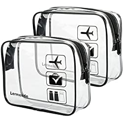 Lermende Clear Toiletry Bag TSA Approved Travel Carry On Airport Airline Compliant Bag Quart Sized 3-1-1 Kit Travel Luggage Pouch 2pcs/pack (Standard Size x2)