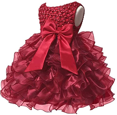 Baby Girl Dresses Ruffle Lace Pageant Party Wedding Flower Girl Dress (Margarite Red (Wine), 4-5 Years)]()
