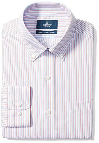 BUTTONED DOWN Men's Classic Fit Button-Collar Pattern Non-Iron Dress Shirt, Orange/Blue Stripe, 16