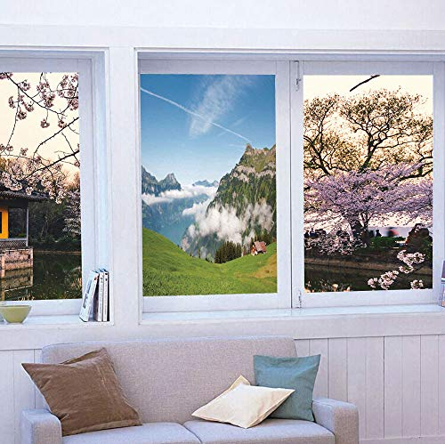YOLIYANA Privacy Window Film Decorative,Mountain,for Glass Non-Adhesive,Pastoral View Switzerland Lake Lucerne Cloudy Grassland Pines,24''x36''