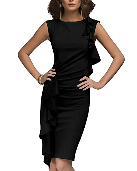 01ce6f7cd6f8 Guiran Donna Eleganti Vestiti Da Ufficio Affari Cerimonia Festa Cocktail  Senza Maniche Girocollo Balze Abito A