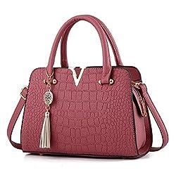 Crocodile Leather Women Bag V Shoulder Crossbody Bags Fringed Women Messenger Bag Rubber Red