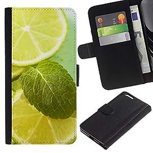 LASTONE PHONE CASE / Lujo Billetera de Cuero Caso del tirón Titular de la tarjeta Flip Carcasa Funda para Apple Iphone 6 PLUS 5.5 / Fruit Macro Lime & Mint