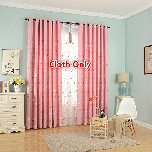 WPKIRA Pink Flower Embroidered Blackout Curtains Cotton and Linen Thermal Insulated Panels Window Curtains Screens Grommet Top 1 Panel W40 By L84 inch (Cotton For Flowers Sale)