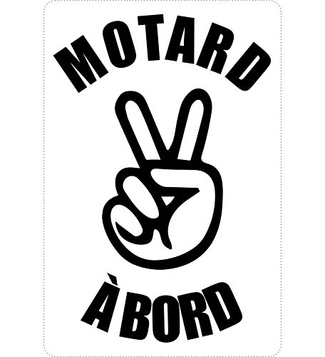 Autocollant sticker macbook laptop voiture moto motard a bord salut noir akacha SKU003684