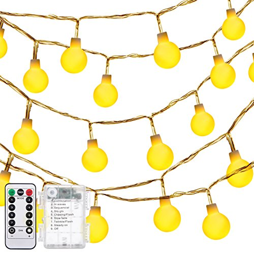 (DecorNova Globe String Lights, 13 Feet 30 LEDs Ball String Fairy Light with 3AA Battery Box and Remove Controller, Warm White)