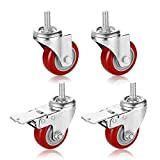 PARLOS Heavy Duty Swivel Caster Wheels 3 inch Threaded Stem Mount Castors on Polyurethane Wheel, Pack of 4 (2 Swivel Without Brake, 2 Swivel with Brakes), 40002