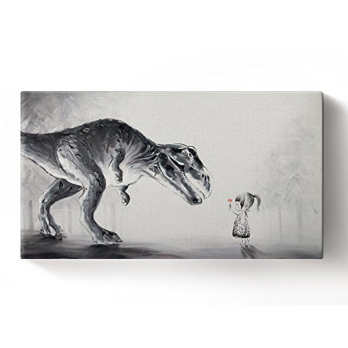Libaoge Hand Painted Lovely Baby Girl Sending A Flower To Trex Dinosaur In The Forest Oil Painting on Canvas with Wood Frame, Modern Home Wall Decoration Artwork Ready to (T-rex Poster)
