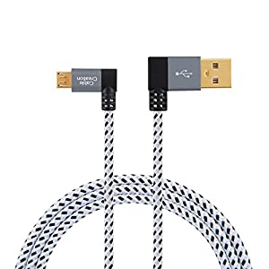 CableCreation 90 Degree USB 2.0 A to Micro USB B Cable, Right Angle Double Angle-Dual Angled Short Micro USB Cable with Aluminium Case