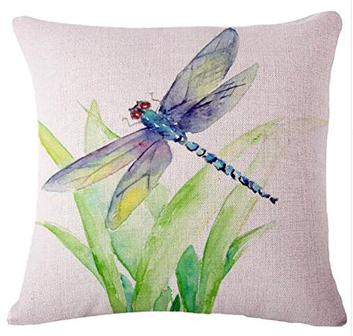 Ink painting the animal Dragonfly Cotton Linen Throw Pillow covers Case Cushion Cover Sofa Decorative Square 18 inch (Dragonflies and grass)