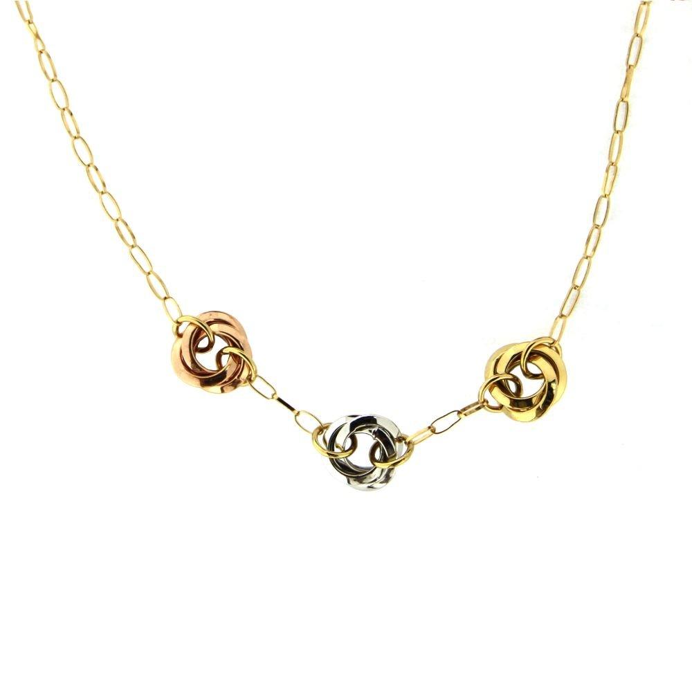 18 k tricolor knot necklace