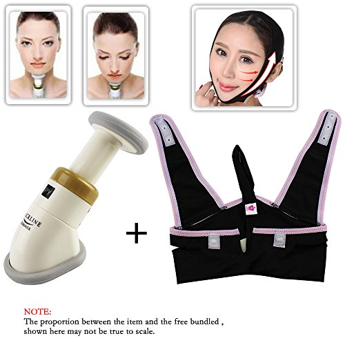 EYX Formual Neckline Slimmer Massager + V Line Jaw Belt for Double Chin Reduce and Anti-aging Mask and - Tone Double Strap