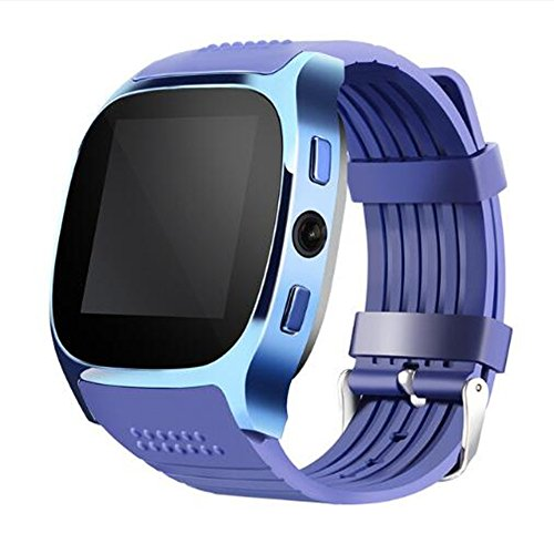 SHENGMO T8M Bluetooth heart rate smart watch for men and women for blood pressure monitoring fitness tracker Pedometer Calorie Counter Sleep monitor (blue)