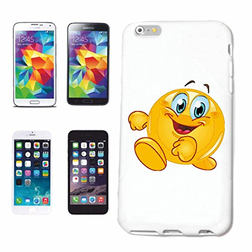 "cas de téléphone iPhone 5C ""FUNNY SMILEY pendant la course ""sourire EMOTICON APP de SMILEYS SMILIES ANDROID IPHONE EMOTICONS IOS"" Hard Case Cover Téléphone Covers Smart Cover pour Apple iPhone en blan"