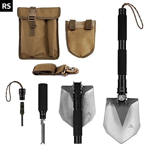 FiveJoy Compact Military Folding Shovel (RS) - Portable Multitool, Tactical Entrenching Tool for Camping, Backpacking, Hiking, Car, Garden, Snow, Heavy Duty Emergency Survival Gear (Case Included) (Used Ice Auger compare prices)