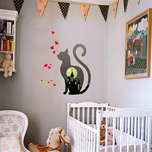 - Luminous Stickers - Luminous Black Kitten My Combination Sticker Children Room Glow In The Dark Bedroom Fluorescent - Stickers Ceiling Luminous Room Cars Children Wall