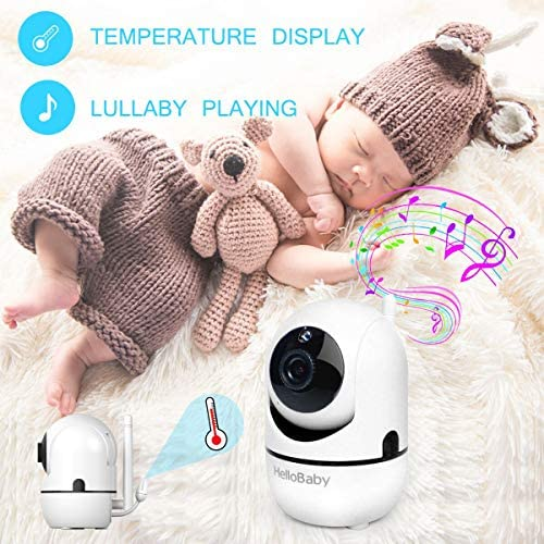 51sNzCoVAyL. AC - HelloBaby Video Baby Monitor With Remote Camera Pan-Tilt-Zoom, 3.2'' Color LCD Screen, Infrared Night Vision, Temperature Display, Lullaby, Two Way Audio, With Wall Mount Kit