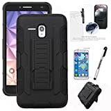"JITTERBUG SMART (5.5"" SCREEN) Case JITTERBUG SMART (5.5"" SCREEN)Xtreme Heavy Duty Hybrid Armor Dual Layer Kickstand Belt Holster Clip Combo Rugged Tuff+ Screen Protector & Stylus (BLACK/BLACK)"