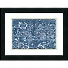 Framed Art Print 'Blueprint World Map' by Willem Blaeu