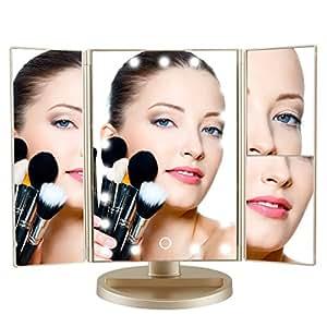Amazon Com Deweisn Tri Fold Lighted Vanity Makeup Mirror