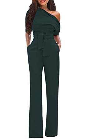 ec88b7eff09 Amazon.com  Women s Club Jumpsuit Flare Long Pants Party Night Jumpsuit  Romper with Belt Plus Size  Clothing