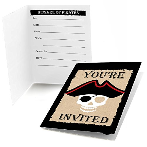 Beware of Pirates - Fill in Pirate Birthday Party Invitations (8 Count) -