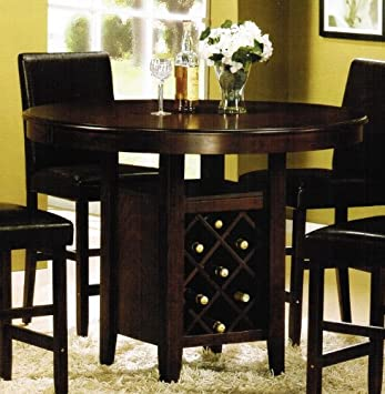 Amazon Com Counter Height Dining Table With Wine Rack Cherry Tables