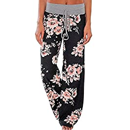 AceIce Women's Comfy Stretch Floral Print Lounge Pants Casual Drawstring Palazzo Pants Wide Leg Pajama Pants