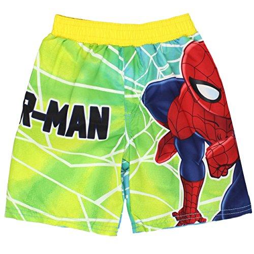 Spider-Man Boys Swim Trunks Swimwear (Baby/Toddler/Little Kid) (4T, Spider-Man Green)