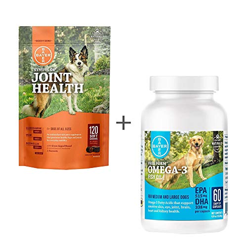 Bundle Bayer Synovi G4 Soft Chews for Dogs, Joint Supplement, 120ct & Free Form Snip Tips Gel Capsules, Omega-3 Fish Oil, 60ct - Single Pack Each