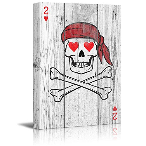 wall26 - Poker Cards Canvas Wall Art - Hearts 2 - Pirate Skeleton with Red Heart Shaped Eyes - Gallery Wrap Modern Home Decor | Ready to Hang - 12x18 inches -