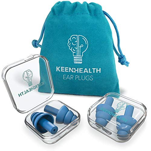Keenhealth Reusable Silicone Ear Plugs 2-Pack - Noise Cancelling and Sound Blocking - 29dB Highest NRR - Comfortable Fit - Earplugs for Sleeping, Concerts, Festivals, Construction Sites - BPA Free