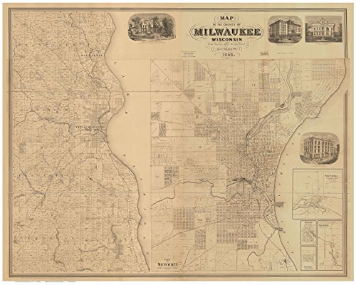 (Milwaukee County Wisconsin 1858 - Wall Map with Homeowner Names Farm Lines Genealogy - Old Map Reprint)