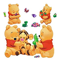 Wall Sticker Decal Winnie the Pooh and Tiger Kids Bedroom Nursery Daycare and Kindergarten Mural Home Decor DIY Self adhesive Removable