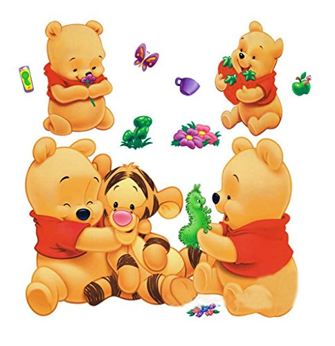 Wall Sticker Decal Winnie the Pooh and Tiger Kids Bedroom Nursery Daycare and Kindergarten Mural Home Decor DIY Self adhesive Removable - Pooh Wall