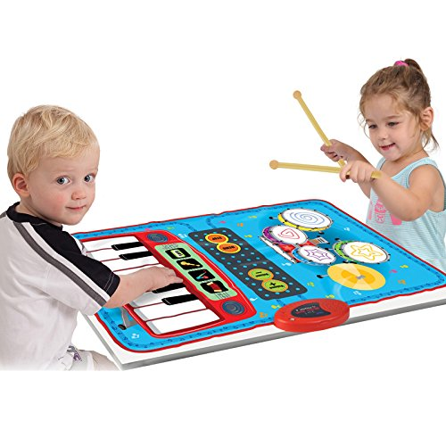 SainSmart Jr. 2-in-1 Foldable Music Mat, Functional Jam Drum&Piano Playmat, Recordable Musical Instruments [Black Friday Deals]